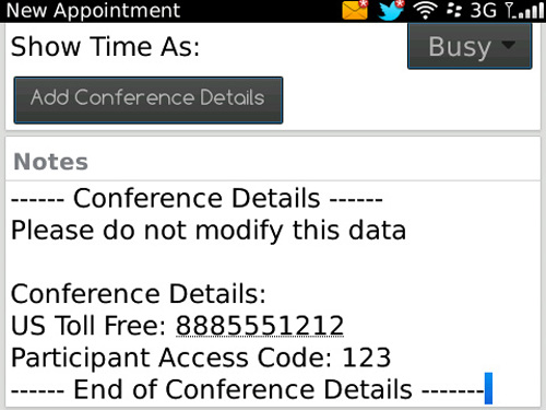 The latest application from RIM: Blackberry Mobile Conferencing