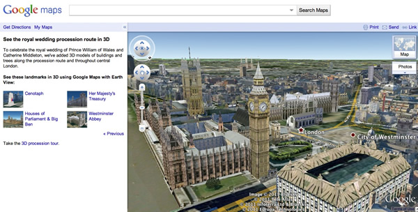 Explore the United Kingdoms Royal Wedding Procession from Google Maps In 3D models!