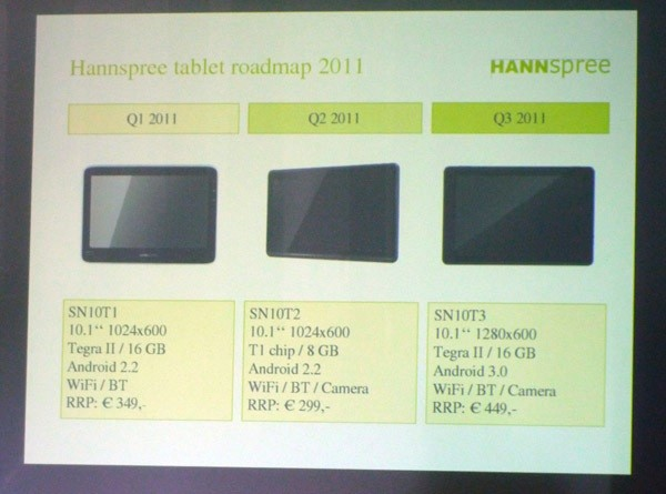 Hanspree SN10T1, SN10T2 and SN10T3 the three Latest Android Tablet in 2011