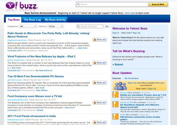 Yahoo Buzz service will be discontinued
