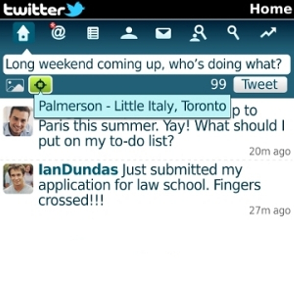 Latest Twitter 1.1 For Blackberry has been present, add features Add Location